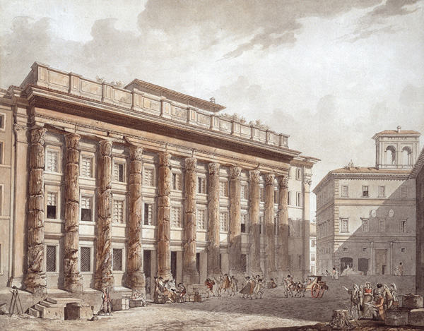 Jean-Francois Thomas, dit de Thomon (1759–1813). View of Hadrian's Temple in Rome, 1788